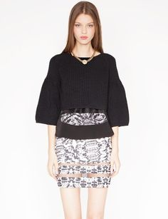 Organza bell sleeve sweater