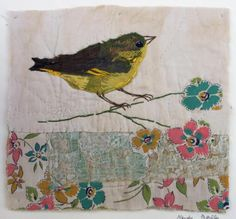 Unframed appliqued greenfinch with embroidery on by MandyPattullo