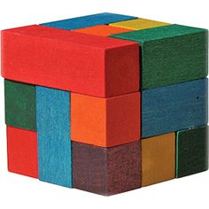 Maple Landmark's Color Cube is a colorful version of the classic Soma puzzle. $10.95 #mightynest