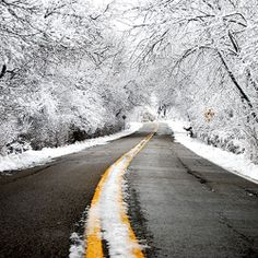 Winter. Via T+L (www.travelandleisure.com).reminds me of the way to my Mom's house!