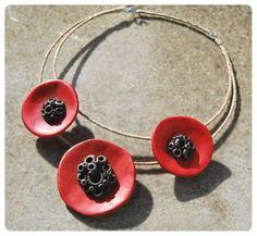 Polymer clay necklace Poppy