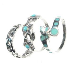 Lovely Turquoise & Silver Toe Rings - Boho Chic Jewelry