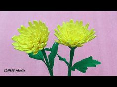 How to make DIY origami yellow chrysanthemum crepe paper flower/paper flower craft tutorials - YouTube