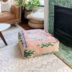 Handmade upcycled Moroccan floor cushion (also known as a 'pouf') made from vintage rugs. Floor cushions add a bohemian flair to any space, and can be used as floor seating, pet beds, ottomans, and more! Moroccan Floor Cushions, Classic Living Room, Floor Seating, Bohemian Living, Pet Beds, Ottomans, Vintage Rugs, Living Room Decor, Throw Pillows