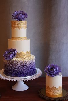 Purple and Gold Lace wedding cake. I love the ombre ruffles and the gumpaste peonies!