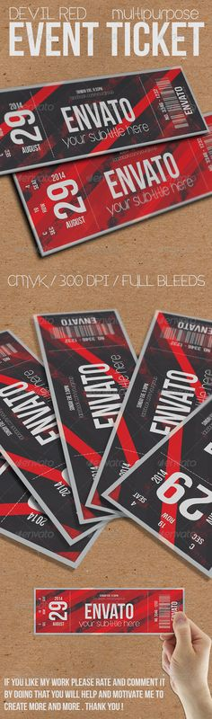 Devil Red - Event ticket Template PSD | Buy and Download: http://graphicriver.net/item/devil-red-event-ticket/7921666?WT.ac=category_thumb&WT.z_author=Tzochko&ref=ksioks