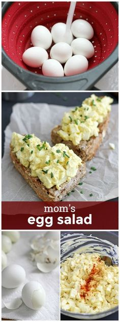 Egg Salad Mom's Egg Salad -- simple, easy, delicious egg salad straight from Mom's recipe archives! Egg Salad -- simple, easy, delicious egg salad straight from Mom's recipe archives! Lunch Recipes, Low Carb Recipes, Cooking Recipes, Healthy Recipes, Egg Salad Recipes, Cooking Kale, Fast Recipes, Recipe For Mom, Mom's Recipe