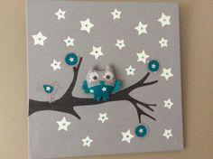 """Tableau lumineux leds """"Mes amis de la forêt"""" gris et bleu canard (sur commande) : Décoration pour enfants par latelierdemary"""