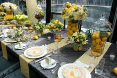 From Vancity Bride - Lemons make beautiful spring time centerpieces and table setting inspiration!
