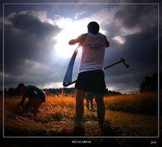 ***Segalaris: Competición de corte de hierba. Durísima prueba física en la que el participante trabaja doblado por la cintura. La inspiración se hace con el torso inclinado y los pulmones comprimidos. El segalari debe avanzar inclinado, los ojos fijos en el suelo, mientras cae implacable sobre su nuca el sol. Fotografía de Jabi Artaraz Segalariak TUTULU