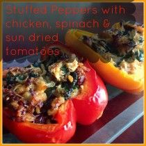 Chicken Stuffed Peppers with Sun Dried Tomatoes and Spinach | Paleo Fitness Mama