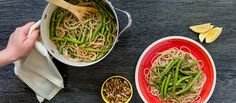 Brown Rise Spaghetti with Miso Walnut Sauce and Green Beans - Purple Carrot recipe - Vegan