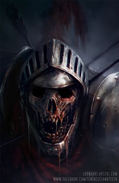 Undead Knight by TentaclesandTeeth. Zombie in a great helm dripping bodily fluids and skin. Looking very handsome.