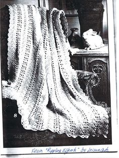 Grandma's Lacy Ripple Crochet Pattern by rachelfield in Book Excerpts, pattern, and crochet Crochet Squares Afghan, Crochet Ripple, Crochet Bedspread, Crochet Afgans, Crochet Quilt, Crochet Home, Blanket Crochet, Crochet Cardigan, Knitted Blankets