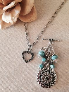 Turquoise & Antique Silver Beaded Pendant Necklace