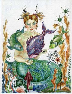 Mermaid Painting Watercolor Original Little by ChasingtheCrayon, $99.00