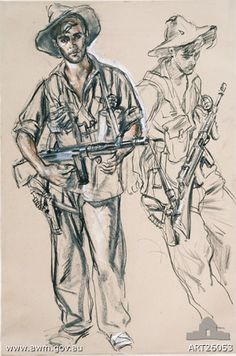 WW2 artist Ivor Hele sketch of Peter Pinney