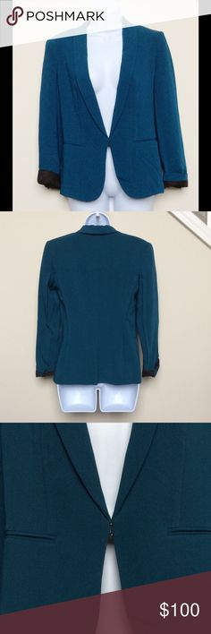 Rag & Bone Teal Blazer, Size 0 Rich teal blue colored blazer from Rag & Bone.  Sleeves are cuffed, front features cut pockets (for style only).  Size 0, excellent condition.  Blazer very flattering, gives a very feminine figure.  Blazer is lined and well made, in classic Rag & Bone fashion. rag & bone Jackets & Coats Blazers