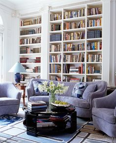 Anthony Baratta - Love the Lavender color sofas and the white built-in shelves.
