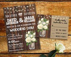 Invitación de la boda del país rústico elegante por myooakboutique