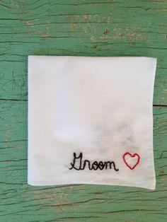 Groom Pocket Square Hanky Wedding Gift Handkerchief. $8.00, via Etsy.