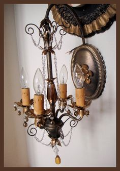 $600.00 Vintage Schonbek Wall Chandelier Gorgeous Details-Antique Chandelier, Chandelier, Antique, Vintage, Vintage Chandelier, French, Gilt, Crystal, Bronze, Beaded, Italian, European, French Country, Victorian, Prisms, Brass, Italy, Italian Tole, Shabby Chic Chandelier, Rachel Ashwell, French Home Decor, Designer Decor, Paris Flea Market, Paris Couture Antiques, Paris Antiques, France Antiques, Paris Shopping, Wall Sconces, Antique Sconces, Rock Crystal, Lamp, Floor Lamp