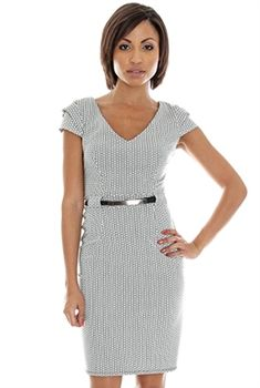 new in print tailored fit dress,with double cap sleeve detail work or play £45 size 8,10,12,14