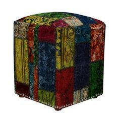 Vinage patchwork cube stool
