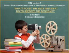 "Here's a great way to get students involved in the election. CEE has launched a video contest for K-12 classroom teachers and their students during the 2012 election season. Submit a 60-second video featuring one or several students answering the question, ""What should the next President do to improve the economy?"" https://www.facebook.com/councilforeconed/app_357224834352829 #Election2012 #Economy #CEE"