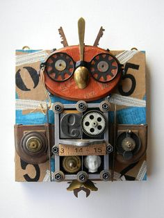 Recycled Art Collage  Owl Glasses    Original Mixed by redhardwick, $115.00