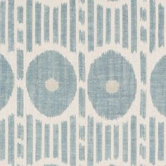 Mesa Ikat Linen Fabric from the Imperial Garden Collection by Thibaut, with graphic ikat design of circles and stripes in aqua. Linen Upholstery Fabric, Ikat Fabric, Ikat Print, Fabric Samples, Fabric Wallpaper, Indigo Blue, Fabric Design, Indiana, Salons