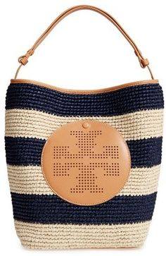 Shop Now - >  https://api.shopstyle.com/action/apiVisitRetailer?id=638382596&pid=uid6996-25233114-59 Tory Burch Perforated Logo Straw Hobo - Beige  ...