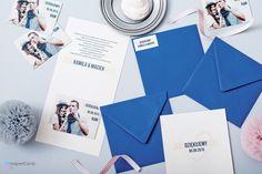 Magnes w okładce otwieranej + koperta z naklejką jako podziękowanie dla gości weselnych