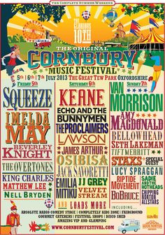 Cornbury Music Festival Oxfordshire Line Up 2013. Great poster, colour and type used to great effect.