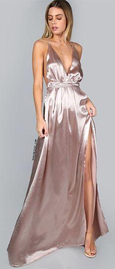 Pink Plunge Neck Crisscross Back High Slit Wrap Cami Dress Abiti Da Ballo  Della Scuola Rosa 141bd91d9a9