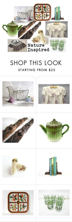 Nature Inspired by vintageandmain on Polyvore featuring interior, interiors, interior design, home, home decor, interior decorating, vintage and VintageAndMain