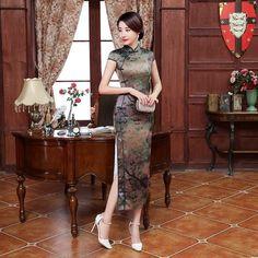 Long length Velvet Fabric Cheongsam Qipao Chinese dress C0075-02