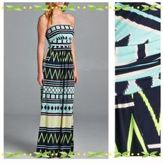 """HP 4/11 & 20PRETTY MAXI IN BLUES & LIME Very pretty strapless maxi made of 96% polyester and 4% spandex. Perfect for day or evening. Made in USA NWOT Length 51-52"""" tla2 Dresses"""