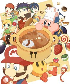 Kirby is cooking a Meta Knight soup for Toon Link, Ness, Pac-Man, Sonic, King Dedede, Marth and Ike.