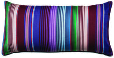 """Cushion, mixed colored stripes. Available in different sizes. As shown. W10xL19¾""""."""