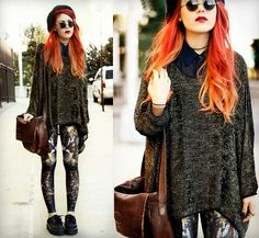 Luanna Perez gorgeous mix of prints.red ombre hair. Vintage cool outfit
