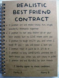 ReALiStiC Best Friend Contract – 5 x 7 journal – ReALiStiC Best Friend Vertrag – 5 x 7 Tagebuch – Related posts: ReALiStiC Best Friend Vertrag – 5 x 7 Tagebuch – … Bester Freund Vertrag – Tagebuch – Geschenke … Best Friend Bucket List, Best Friend Goals, Best Friend Things, Guy Best Friend Gifts, Best Friend Book, Letter To Best Friend, Diy Gifts For Best Friends, Cute Best Friend Quotes, Lines For Best Friend