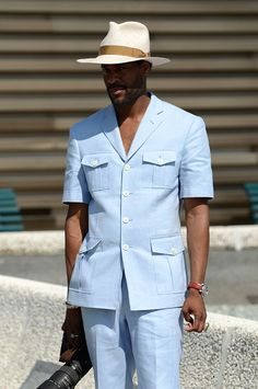 Stylish outfit with Panama hats African Wear Styles For Men, Ankara Styles For Men, African Clothing For Men, Nigerian Men Fashion, African Men Fashion, Suit Fashion, Mens Fashion, Business Attire For Men, Moda Masculina