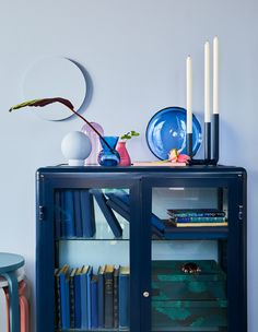 A decorative still life display made of vases plates and domes in colored glass placed on top of a dark blue storage cabinet all from IKEA. & 468 best  home  images on Pinterest   Bedroom ideas Child room ...