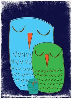 Image of We 3 Owls Goodnight Nursery Art Print