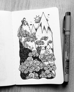 Dave Garbot Pen Sketch, Doodle Sketch, Doodle Drawings, Doodle Art, Sketches, Nature Sketch, Doodle Designs, Sewing Art, Crayon