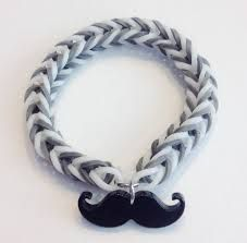 Rainbow Loom Fishtail Rubber Band Bracelet with a Mustache charm. All I need is gray rubber bands and a mustache charm! Loom Band Bracelets, Rubber Band Bracelet, Rainbow Loom Bracelets, Rubber Bracelets, Charm Bracelets, Friendship Bracelets, Beaded Bracelets, Mustache Party Favors, Mustache Theme