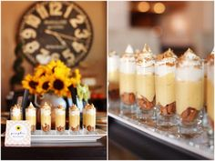 Pumpkin Mousse Parfaits  Ingredients  1 (15-ounce) can pumpkin, 3 cups heavy cream, 3/4 cup superfine sugar,  1/2 teaspoon pumpkin pie spice, 1 tablespoon vanilla extract, Ginger snaps, for garnish  Directions  Combine pumpkin, 1 cup cream, sugar and spice in a medium saucepan. Simmer over medium heat for 5 minutes. Cool fully., Whip remaining heavy cream and vanilla to soft peaks and fold into cooled pumpkin mixture.. After you make the mousse recipe, use these steps to create the mini parfaits:  {1} Add crumbled gingersnaps to bottom of mini parfait glasses  {2} Put the mousse in a large plastic bag. Snip off the corner and pipe a layer into the glasses  {3} Repeat step 2, but with Cool Whip  {4} Top with crushed gingersnaps  {5} Enjoy!