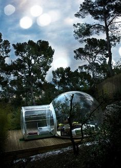 Bubble Hotel. The French town of Roubaix, has recently opened a series of portable hotel rooms in a local park. More impressions can be found here: http://youtu.be/jtqofC29pho