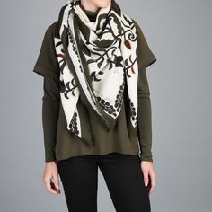 Duet - embroidered woollen scarf #scarf #scarves #AW17
